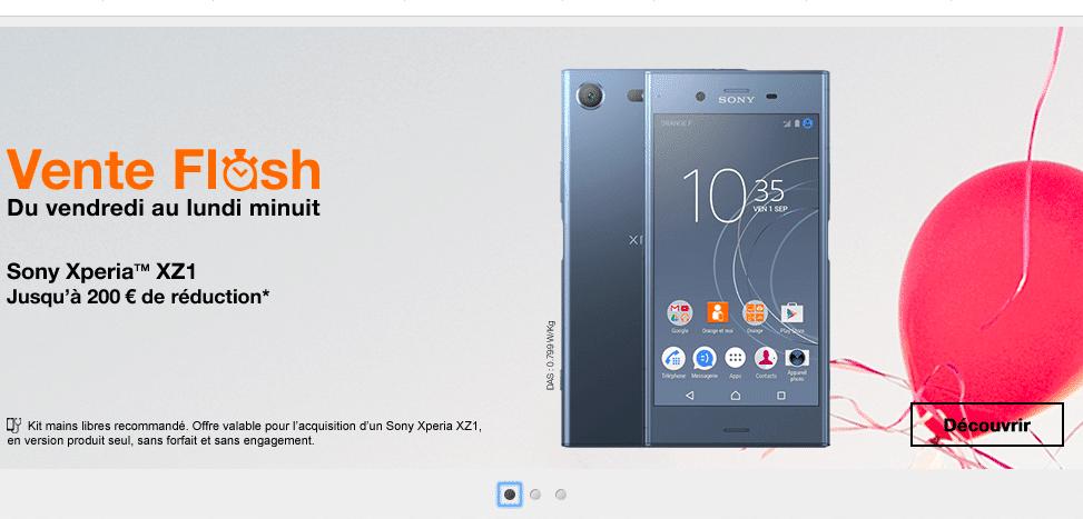 Le Sony Xperia XZ1 est également en promotion chez Orange.