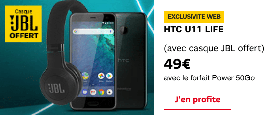 SFR propose un HTC U11 avec un casque JBL.