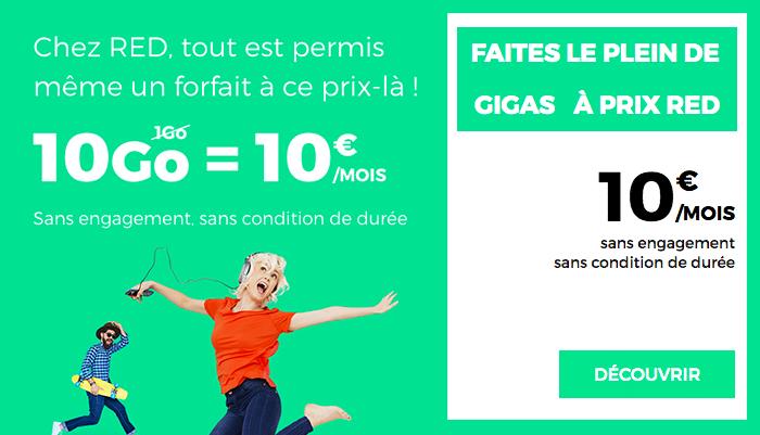 Forfait 10 Go de RED by SFR pour 10 euros par mois