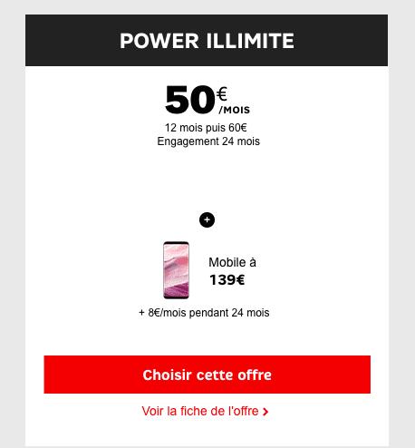Le forfait Power Illimité de SFR pour un Samsung Galaxy S8+ en promotion.