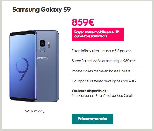 Le Samsung Galaxy S9 est disponible en précommande chez Sosh.
