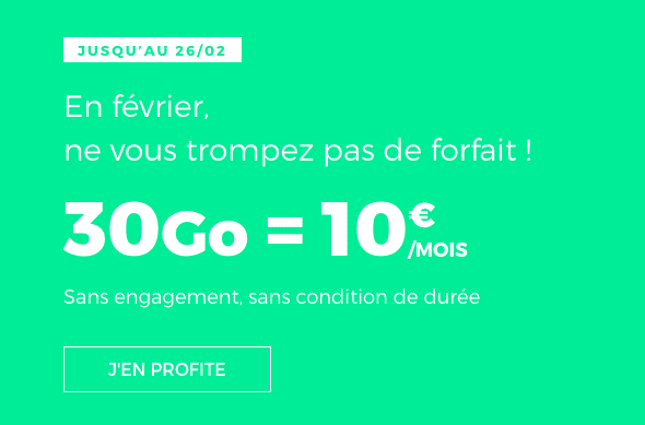 Le forfait RED by SFR 30 Go est en promotion jusqu'au 26 février.