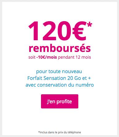 120 euros remboursés avec Bouygues Telecom pour un iPhone X et un forfait Sensation 20 Go.