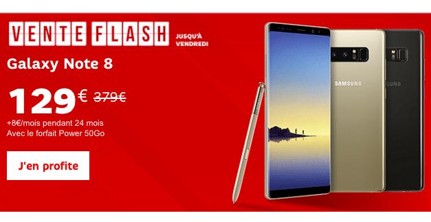 Profitez de la vente flash SFR pour un Galaxy Note8 à petit prix.