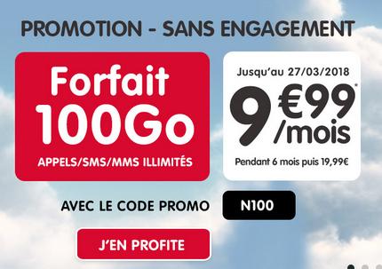 NRJ mobile met en vente son forfait 100 Go pour 9,99€/mois.
