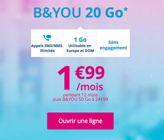 Le forfait B&YOU 20 Go à 1,99€ par mois.