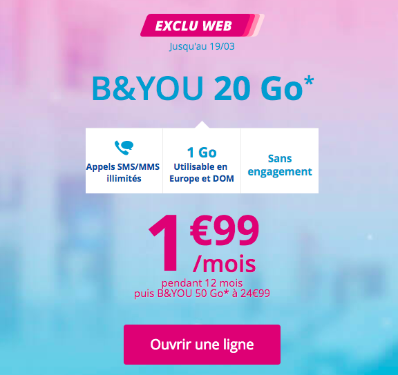 L'abonnement promotionnel B&YOU 20 Go.