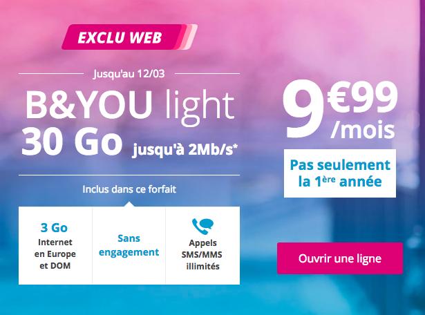 Le forfait B&YOU light de Bouygues Télécom.