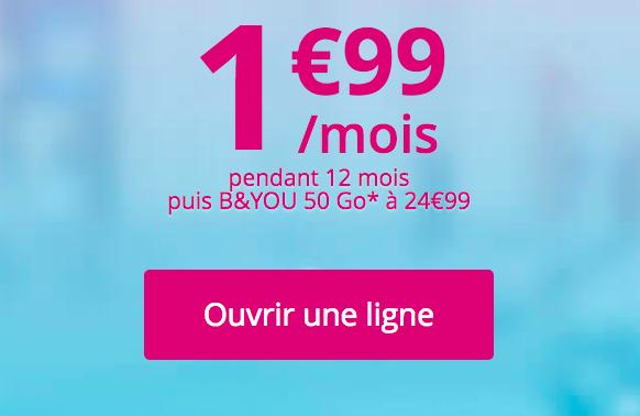 Le forfait B&You à 1,99€ de Bouygues Télécom.