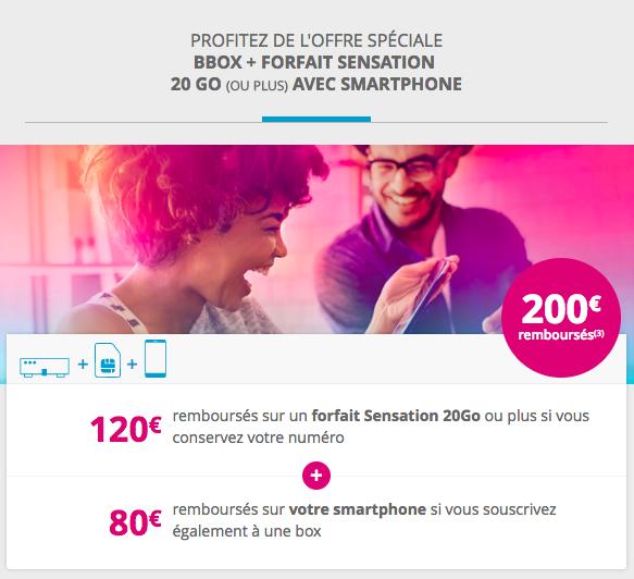 Promotion sur les offres Sensation de Bouygues Télécom.