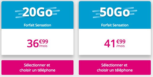 Les forfaits Sensation 20 Go et 50 Go.