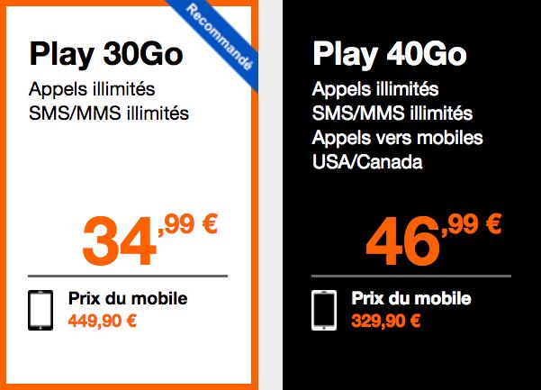 Les prix du Galaxy S9 avec les abonnements Play Orange.