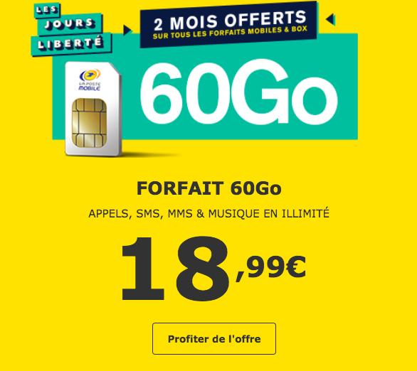 L'offre 60 Go offerte pendant deux mois avec La Poste Mobile.