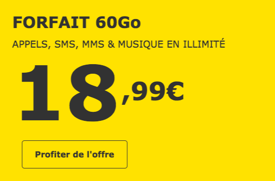 Le forfait sans engagement 60 Go de La Poste Mobile.