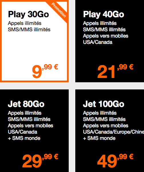 Orange Play jet forfaits