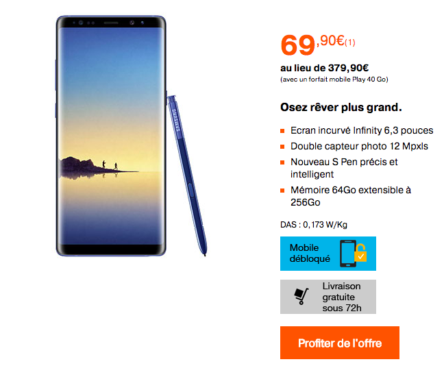 Le Galaxy Note8 et le forfait Orange Play 40 Go.