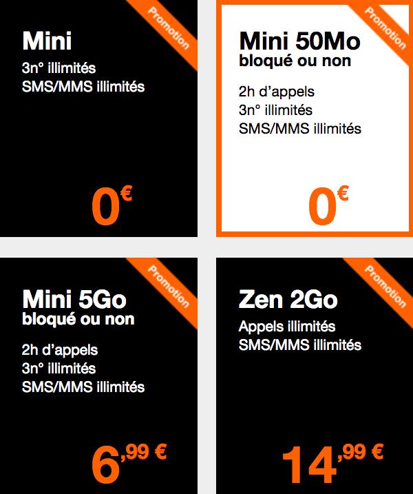 Les forfaits Mini Orange.