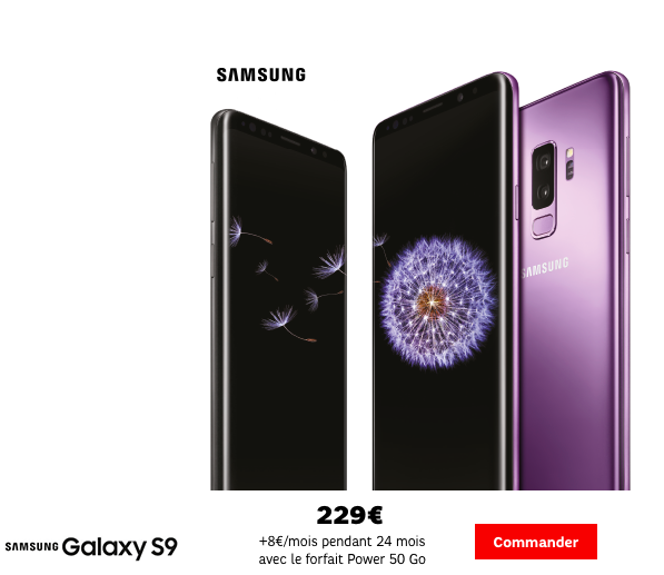 Le Galaxy S9 affiché à 229€ chez SFR.