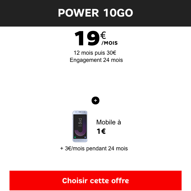 Le Samsung Galaxy J3 avec le forfait Power 10 Go.