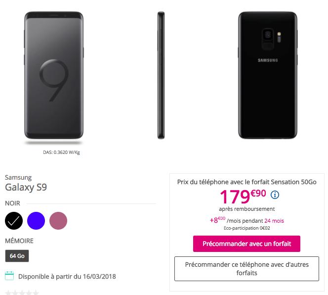 Le Galaxy S9 affiché à 179,90€ avec l'offre Sensation 50 Go.