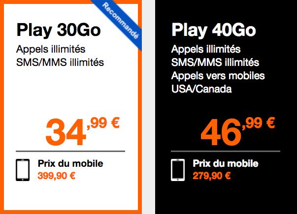 Le Samsung Galaxy S9 avec les abonnements Play 30 et 40 Go.