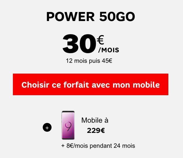 Power 50 Go de SFR et le Galaxy S9 affiché à 229.
