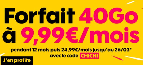 Le forfait 40 Go de Sosh à 9,99€.