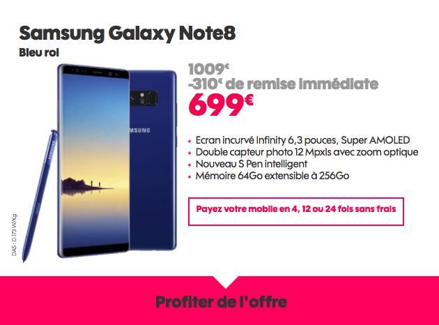 Le Galaxy Note8 à 699€ avec Sosh.