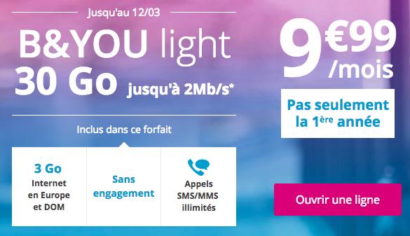 Le forfait B&YOU light 30 Go.
