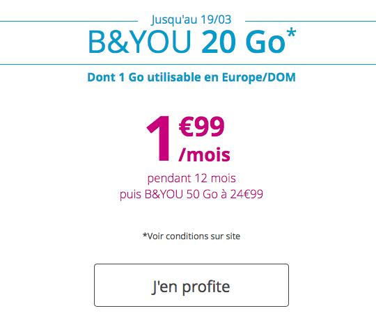 B&YOU met en vente son forfait à moins de deux euros.