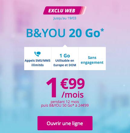 Le forfait B&YOU light 20 Go à 1,99€/mois.