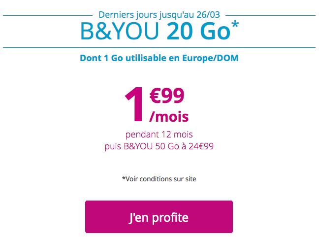 Le forfait B&YOU 20 Go de Bouygues Télécom.