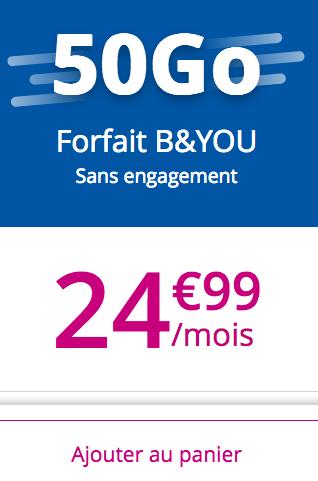 Le forfait B&YOU 50 Go sans engagement.