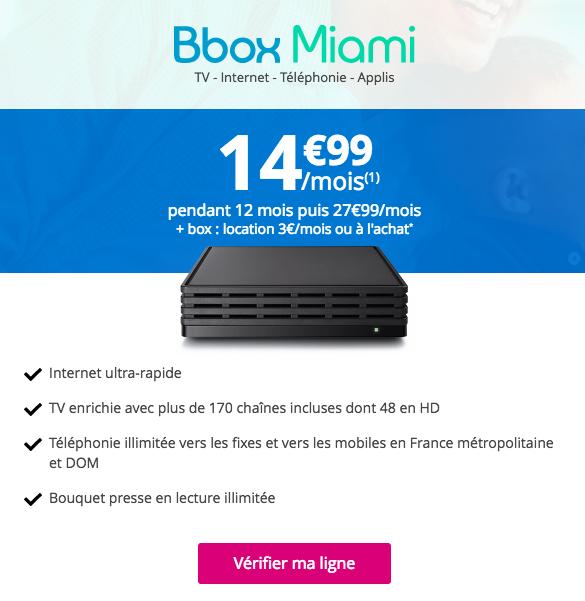 La Bbox Miami de Bouygues Telecom est aussi en promotion, comme le forfait B&YOU 20 Go.