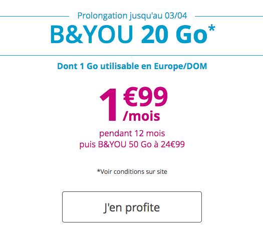 Les forfaits Bouygues Télécom est en promotion avec B&YOU.