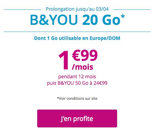 La promotion Bouygues Télécom sur son forfait B&YOU.