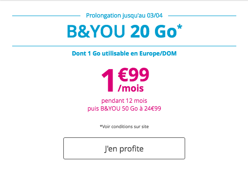 Les forfaits mobiles en promotion chez Bouygues Telecom