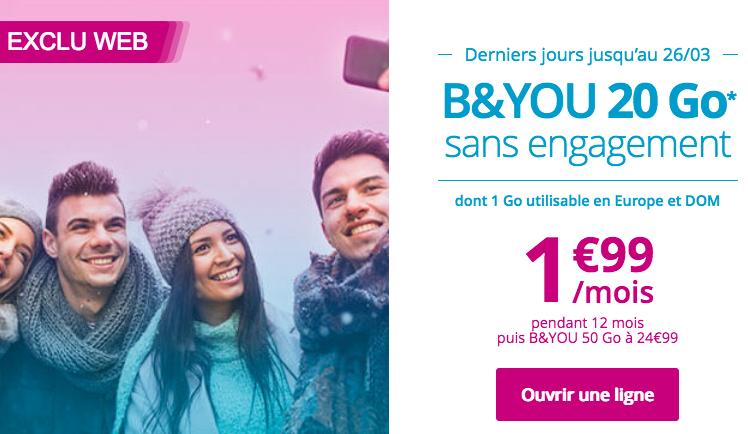 Le forfait B&YOU 20 Go pour 1,99€/mois chez Bouygues Télécom.