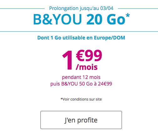 B&YOU 20 Go, l'un des meilleurs forfaits du marché.