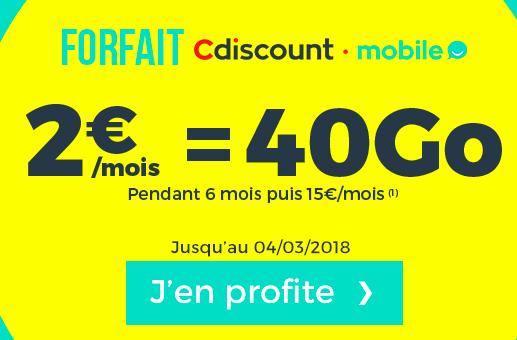 Le forfait de Cdiscount mobile à petit prix.
