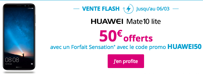 Bouygues Telecom lance un code promo sur le Huawei Mate 10 Lite.