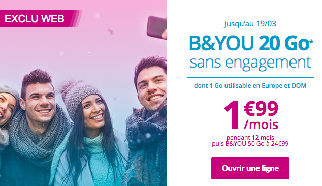 Le forfait sans engagement de Bouygues Télécom à bas prix.