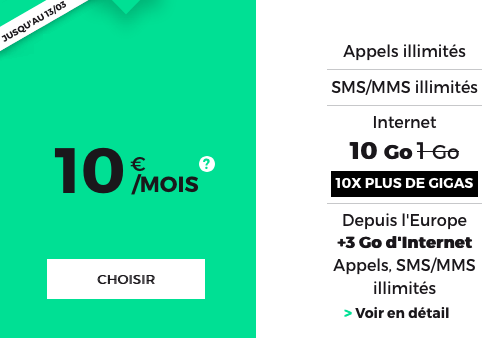 Le forfait RED 10 Go de RED by SFR.