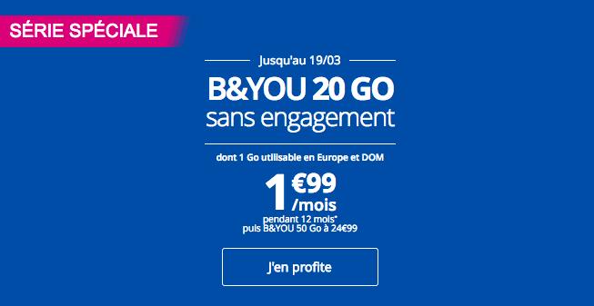 B&YOU propose le forfait B&YOU 20 Go en promo.