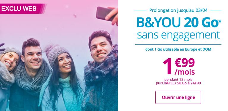 Le forfait B&YOU 20 Go en promotion chez Bouygues Télécom.