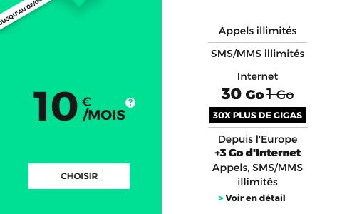 RED by SFR propose un forfait mobile à 10€ pour 30 Go.