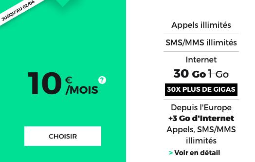 Le forfait RED by SFR doté de 30 Go est en promotion.