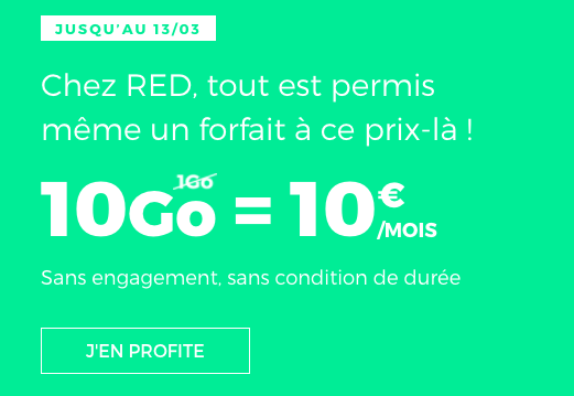 Le forfait RED 10 Go en promotion.