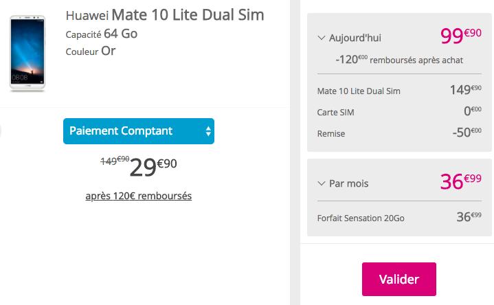 Quel prix pour le Huawei Mate 10 Lite.
