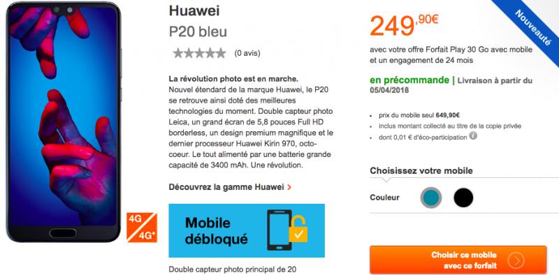 Le Huawei P20 avec le forfait Orange Play 30 Go.